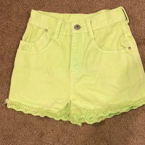 Vintage Gitano neon green shorts sz 7 girls VGUC